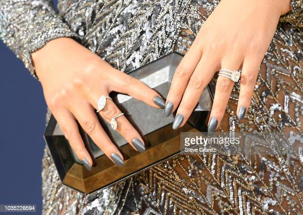 Chrissy Teigen fashion detail attends the 70th Emmy Awards at Microsoft Theater on September 17 2018 in Los Angeles California