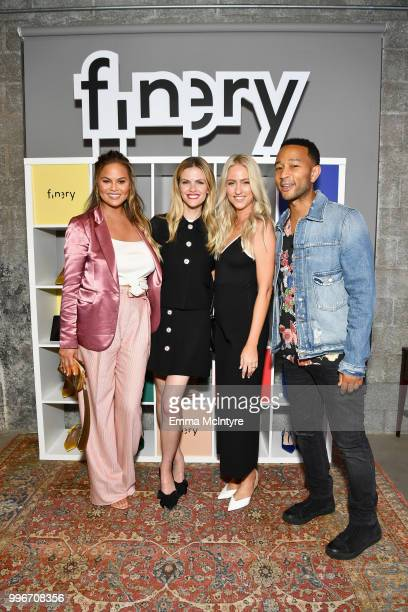 Chrissy Teigen Finery CoFounder Brooklyn Decker guest and John Legend attend the Finery App launch party hosted by Brooklyn Decker at Microsoft...