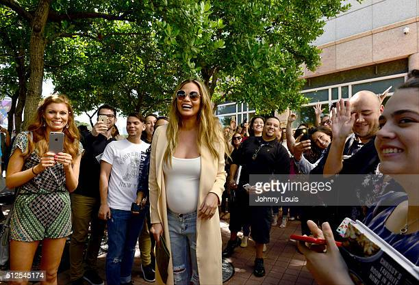 Chrissy Teigen greets fans and signs copies of her book Cravings at Books and Books At Adrienne Arsht Center on February 26 2016 in Miami Florida