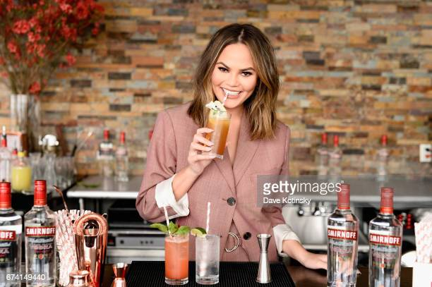 Chrissy Teigen hosts a Cocktails with Chrissy event featuring delicious Smirnoff No 21 Vodka summer cocktails on April 27 2017 in New York City