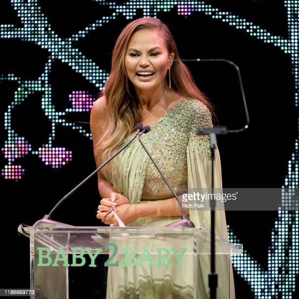Chrissy Teigen is honored with the the Giving Tree Award onstage during the 2019 Baby2Baby Gala presented by Paul Mitchell on November 09, 2019 in...