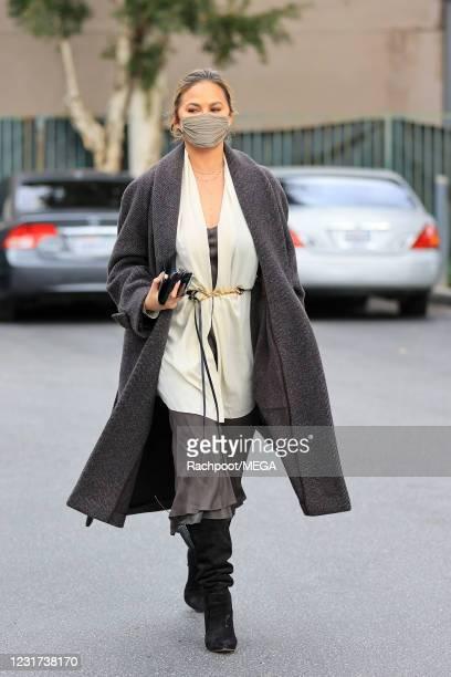Chrissy Teigen is seen at Bristol Farms on March 15, 2021 in Los Angeles, California.