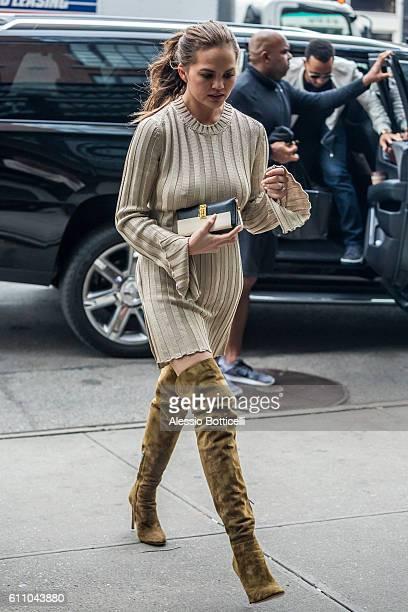 Chrissy Teigen is seen at her hotel on September 28 2016 in New York New York