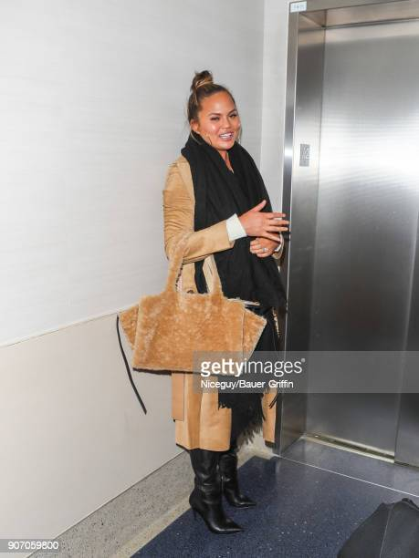 Chrissy Teigen is seen at Los Angeles International Airport on January 18 2018 in Los Angeles California