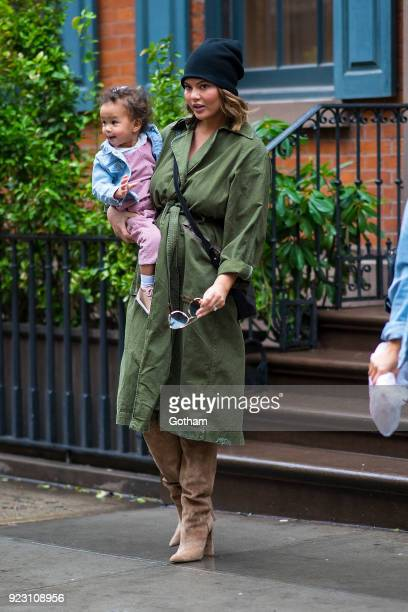 Chrissy Teigen is seen carrying her daughter Luna in SoHo on February 22 2018 in New York City