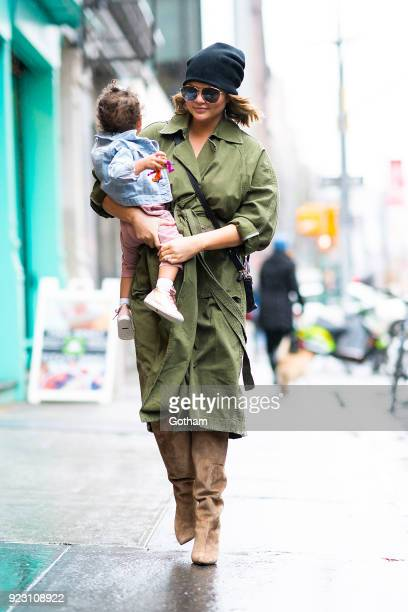Chrissy Teigen is seen carrying her daughter Luna in the East Village on February 22 2018 in New York City