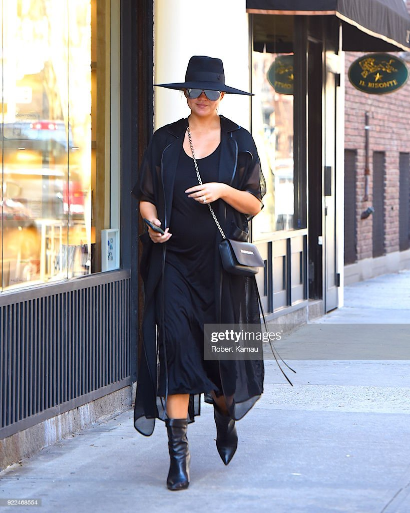 Chrissy Teigen is seen in Manhattan on February 21, 2018 in New York City.