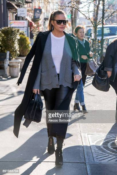Chrissy Teigen is seen leaving her hotel on December 12 2017 in New York New York