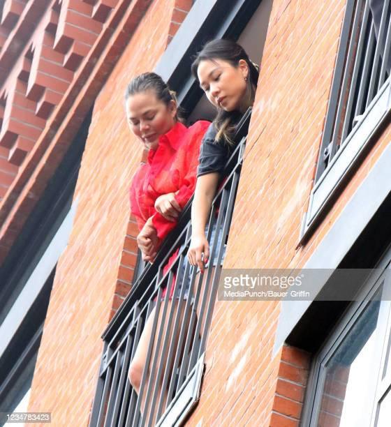 Chrissy Teigen is seen on August 20, 2021 in New York City.