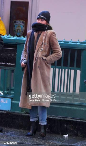 Chrissy Teigen is seen on December 31 2018 in New York City