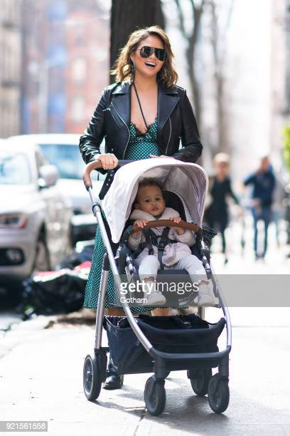 Chrissy Teigen is seen walking her daughter Luna in SoHo on February 20 2018 in New York City