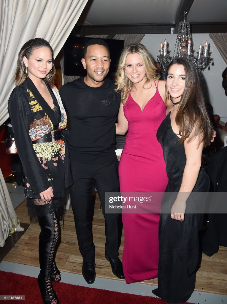 Chrissy Teigen, John Legend, and Aly Raisman attend Sports Illustrated Swimsuit 2017 NYC launch event at Center415 Event Space on February 16, 2017 in New York City.