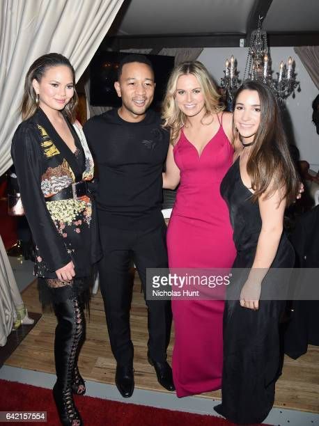 Chrissy Teigen John Legend and Aly Raisman attend Sports Illustrated Swimsuit 2017 NYC launch event at Center415 Event Space on February 16 2017 in...