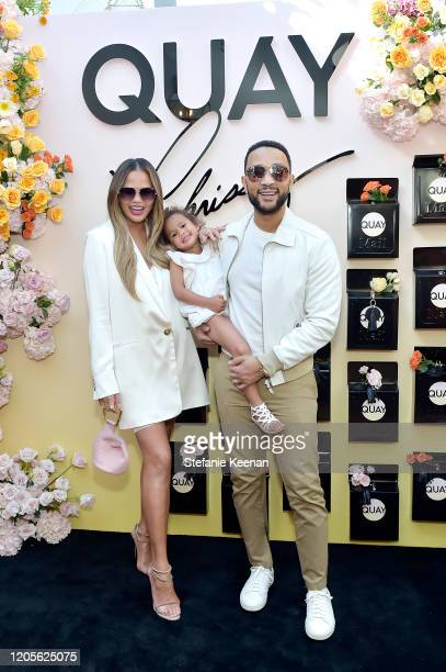 Chrissy Teigen, John Legend and daughter attend QUAYXCHRISSY Launch Party at Olivetta on February 11, 2020 in West Hollywood, California.