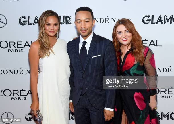 Chrissy Teigen John Legend and Glamour EditorinChief Samantha Barry attend the 2018 Glamour Women Of The Year Awards Women Rise on November 12 2018...