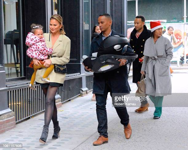 Chrissy Teigen John Legend baby Luna and grandmother are seen out and about in Manhattan on November 12 2018 in New York City