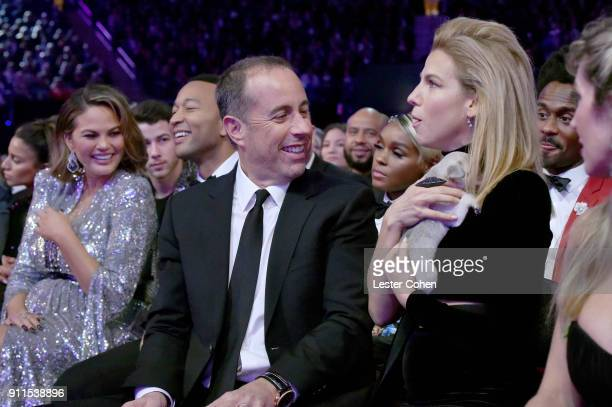 Chrissy Teigen John Legend Jerry Seinfeld and Jessica Seinfeld attend the 60th Annual GRAMMY Awards at Madison Square Garden on January 28 2018 in...