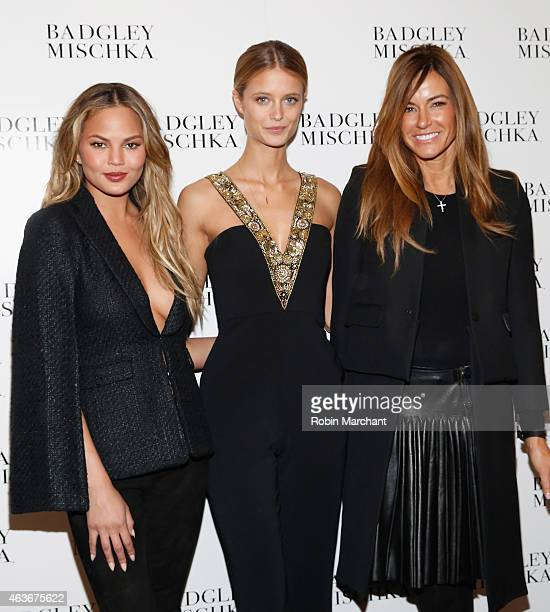 Chrissy Teigen Kate Bock and Kelly Bensimon attend Badgley Mischka Fashion Show at The Theatre at Lincoln Center on February 17 2015 in New York City