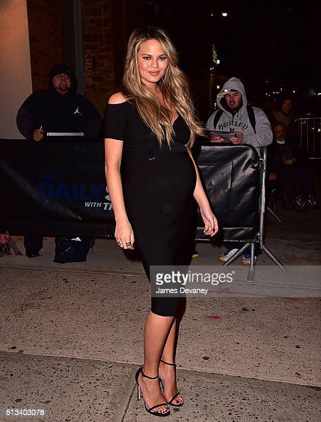 Chrissy Teigen leaves 'The Daily Show with Trevor Noah' on March 2 2016 in New York City