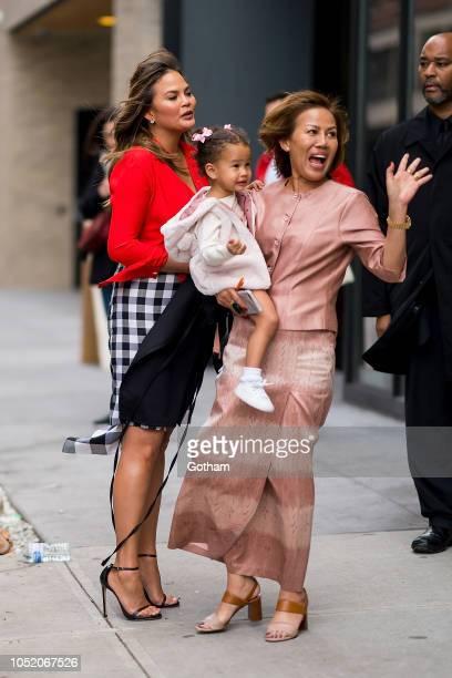 Chrissy Teigen Luna Legend and Vilailuck Teigen are seen in Chelsea on October 13 2018 in New York City
