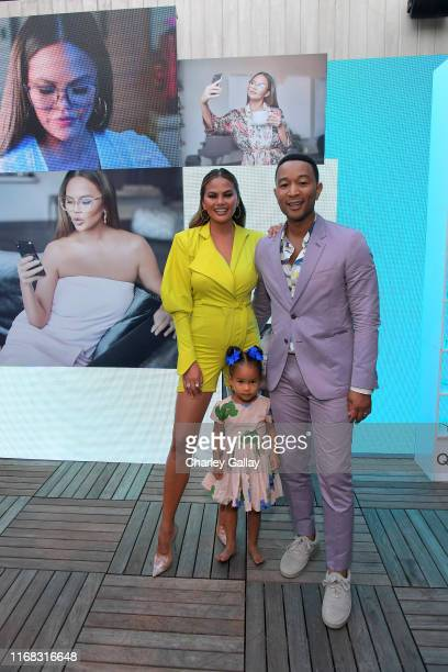 Chrissy Teigen, Luna Simone Stephens, and John Legend attend the Quay x Chrissy Teigen launch event at The London West Hollywood on August 15, 2019...