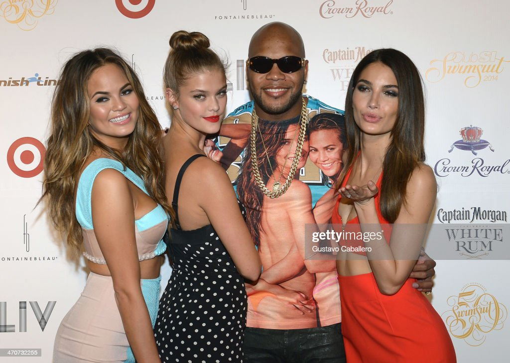 Chrissy Teigen, Nina Agdal, Flo Rida, and Lily Aldridge attend Club SI Swimsuit at LIV nightclub at Fontainebleau Miami on February 19, 2014 in Miami Beach, Florida.
