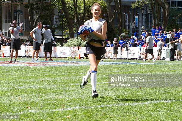 Chrissy Teigen participates during the Madden NFL 12 Pigskin ProAm in Bryant Park on July 27 2011 in New York City