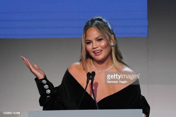 Chrissy Teigen speaks on stage at the WSJ. Magazine 2018 Innovator Awards Sponsored By Harry Winston, FlexJet & Barneys New York - Inside at MOMA on...