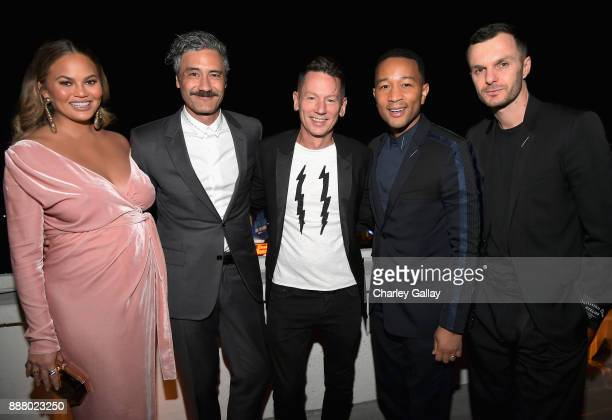 Chrissy Teigen Taika Waititi GQ Magazine EditorinChief Jim Nelson John Legend and Kris Van Assche attend GQ and Dior Homme private dinner in...