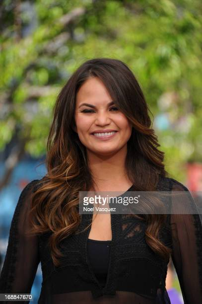 """Chrissy Teigen visits """"Extra"""" at The Grove on May 15, 2013 in Los Angeles, California."""