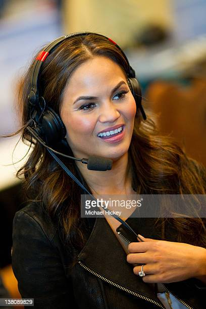 Chrissy Teigen visits WQYK Radio at Radio Row on February 2 2012 in Indianapolis Indiana