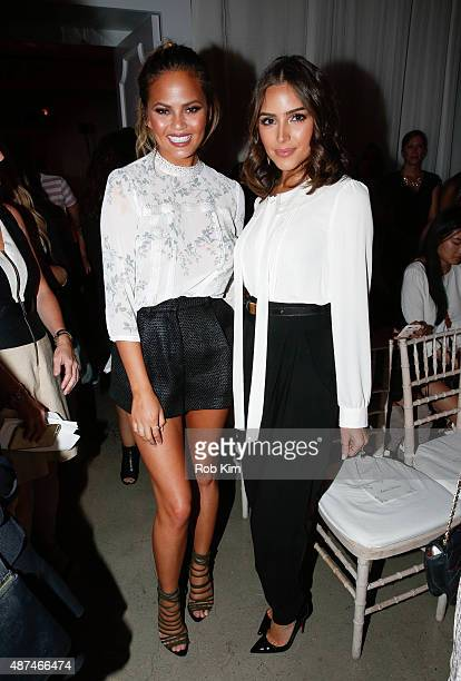 Chrissy Tiegen and Olivia Culpo attend the LC Lauren Conrad fashion show during Spring 2016 New York Fashion Week at Skylight Modern on September 9...