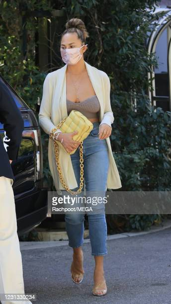Chrissy Tiegen is seen at Wolfgang Puck in Bel Air on February 22, 2021 in Los Angeles, California.