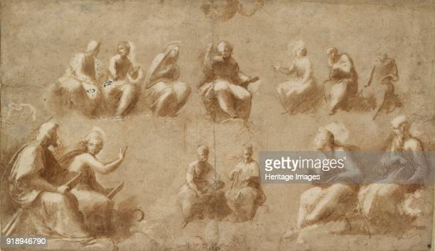 Christ and the Saints in Glory early 16th century Dimensions height x width sheet 233 x 40 cm