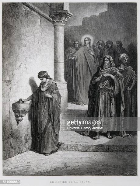 Christ and the widow Illustration from the Dore Bible 1866 French artist and illustrator Gustave Dor_ published a series of 241 wood engravings for a...