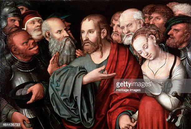 'Christ and the Woman Taken in Adultery' after 1532 Cranach Lucas the Younger Found in the collection of the State Hermitage St Petersburg