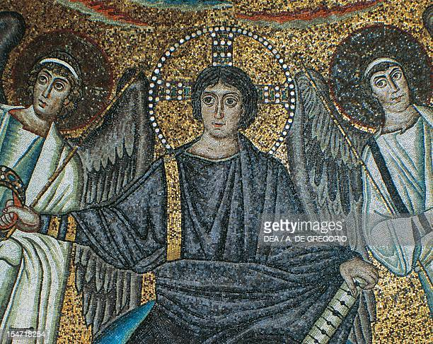 Christ and two angels detail from the Theophany with Christ as the Redeemer San Vitale Bishop Ecclesius and two archangels mosaic apsidal basin...