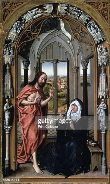 'Christ Appearing to His Mother' c1496 The scene on the right panel of the Miraflores Altarpiece is the only one in this altarpiece that illustrates...