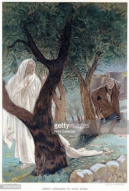 Christ appearing to St Peter c1890 After his Resurrection Christ appears to Peter and convinces him of his identity by showing the stigmata the...