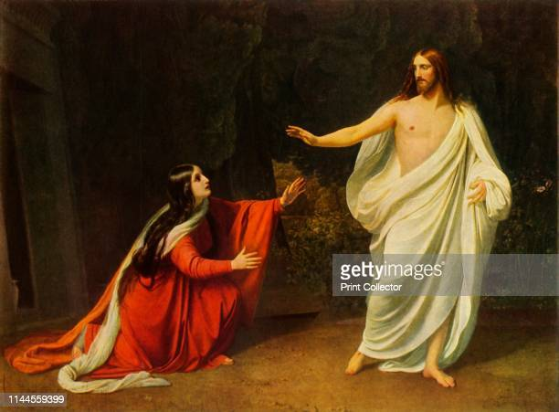Christ appears to Mary Magdalene' New Testament scene Mary Magdalene kneels before the risen Christ who tells her 'Don't touch me for I have not yet...
