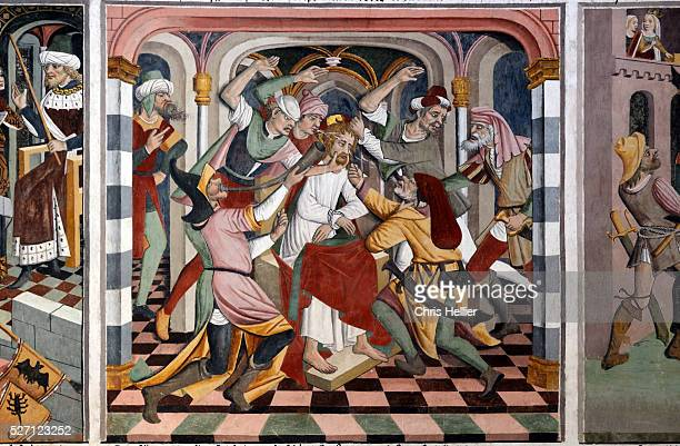 Christ Attacked by Jews Fresco Wall Painting by Giovanni Canavesio at Notre Dame des Fontaines Chapel or Sanctuary La Brigue Roya Valley southern...