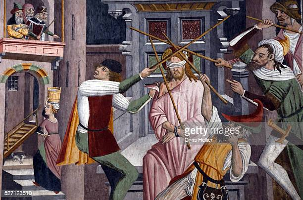 Christ Beaten on Order of Herod fresco or wall painting by Giovanni Canavesio Notre Dame des Fontaines Chapel or Sanctuary La Brigue Roya Valley...