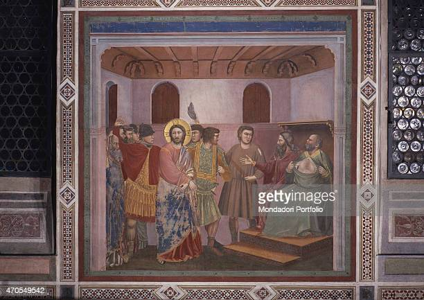 Christ before Caiaphas by Giotto 13031305 14th Century fresco Italy Veneto Padua Scrovegni Chapel After restoration picture Whole artwork view Jesus...
