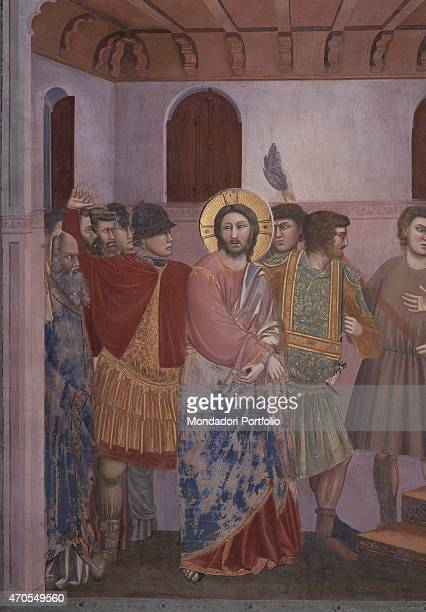 Christ before Caiaphas by Giotto 13031305 14th Century fresco Italy Veneto Padua Scrovegni Chapel After restoration picture Detail Jesus led by...