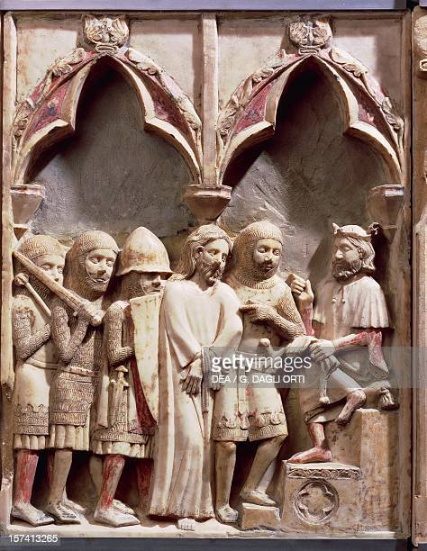 Christ before Pilate relief in alabaster by Bernat Saulet and collaborators Passion altarpiece of the Church of St John and Paul of the Abbesses...