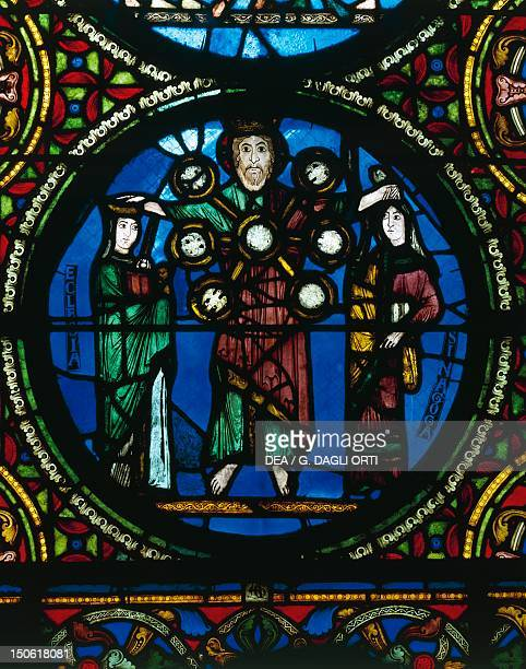 Christ between the church and the synagogue detail of a stainedglass window of a chapel of the ambulatory of the Basilica of SaintDenis SaintDenis...