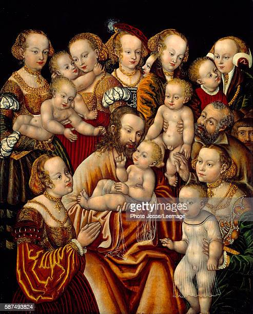 Christ blessing children By Master HB of the Griffon's Head 16th Century Oil on wood 073 x 059 m Louvre Museum Paris France