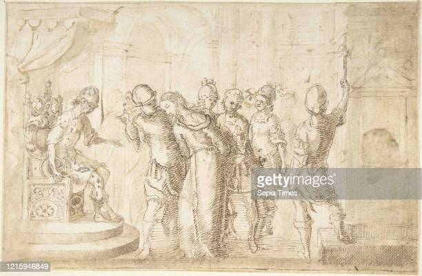 Christ Brought Before Pontius Pilate, 17th century, Pen and light brown ink, brush and light brown wash, reinforced with pen and dark brown ink,...