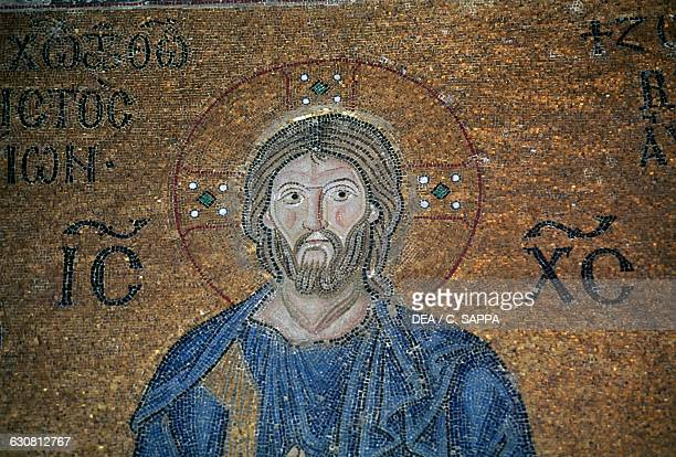 Christ ca 1042 mosaic in the south vestibule of Hagia Sophia historic centre of Istanbul Turkey
