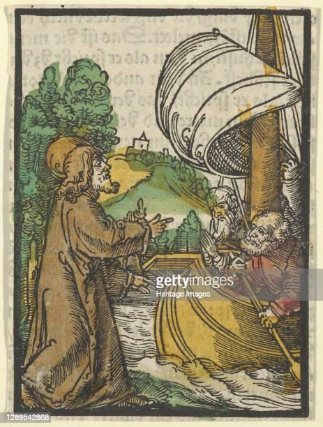 Christ Calming the Storm on Lake Tiberias, from Das Plenarium, 1517. Artist Hans Sch�ufelein the Elder.
